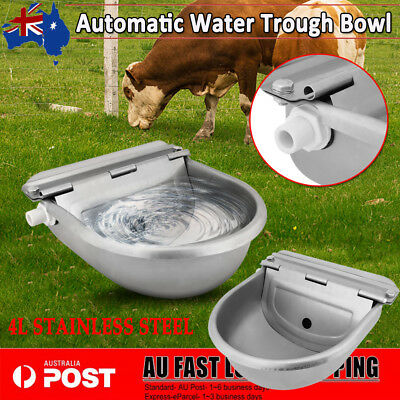 AU Stainless Water Trough Bowl Automatic Drinking For Cow Horse Dog Auto Fill 4L