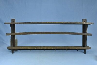 Antique OAK MISSION STYLE CUP & PLATE WALL HANGING DISPLAY RACK #04598