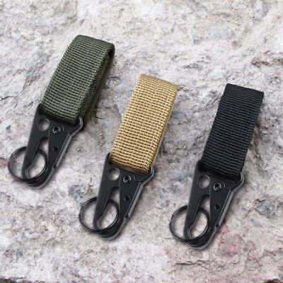 Tactical Camping Belt Webbing Carabiner Key Holder Bag Hook Buckle Strap Clip
