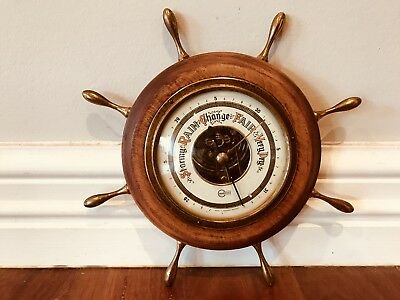 Vintage Collectable Barometer Germany Maritime Marine Ship Wheel Man Cave