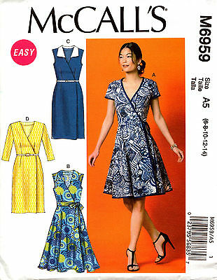 McCalls Sewing Pattern 6959 Ladies Wrap Dress and Belt 6-14 OR 14-22 NEW