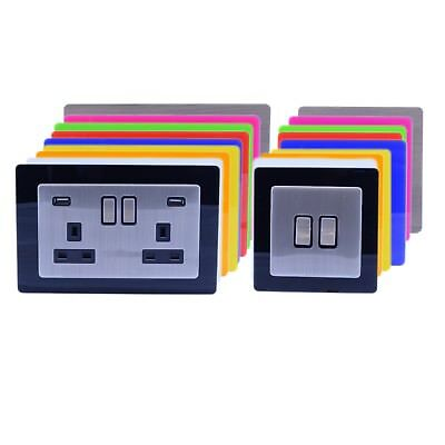 Single Double Light Plug Socket Switch Surround Acrylic Finger Plate Panel
