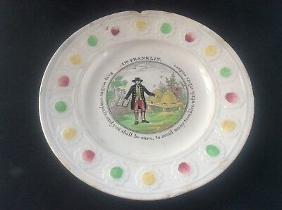 Antique Pearlware Early c19th Nursery Plate Dr Franklin Motto Ware Beehive Bees