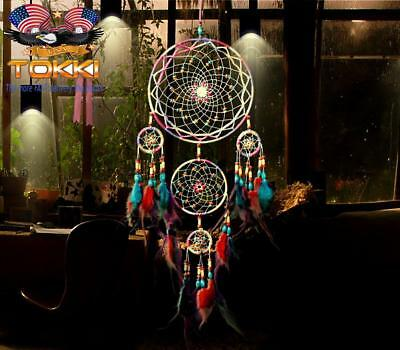 31 X-Large Dream Catcher Colorful Feathers Wall Home Office Hanging Ornament New