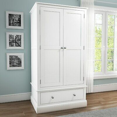 White 2 Door 1 Drawer Wardrobe Solid Wood Bedroom Furniture Combi