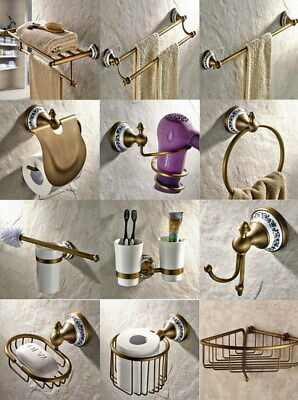 Antique Brass Wall Mount Bathroom Accessories Set Bath Hardware Towel Bar Zx004