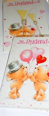"HUSBAND ANNIVERSARY CARDS x12, JUST 27p, WRAPPED, 5"" X 7"" FOILED, EMBOSSED (B477"