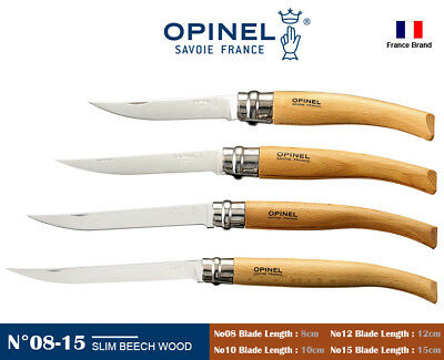 Opinel France Slim Beech Wood Handle Safe Ring Lock Folding Knife No08-No15