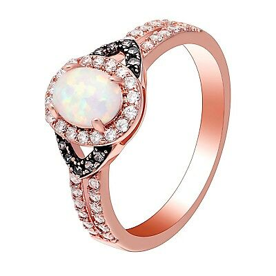 Choco Setting Oval Lab Created White Fire Opal Ring - Ginger Lyne Collection