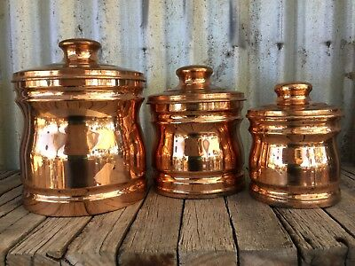 VINTAGE Retro FABERWARE SOLID COPPER CANISTER SET Shabby COUNTRY
