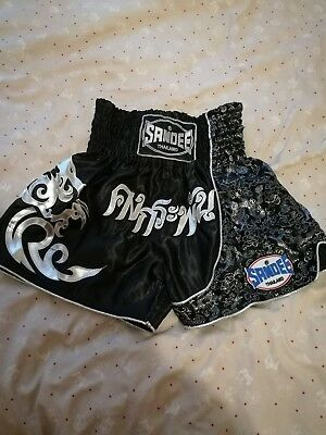 """Sandee Unisex XS 28"""" Muay Thai Boxing Shorts Black and Silver Martial Arts"""