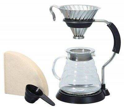 Hario VAS-8006-HSV V60 Arm Stand & Metal Dripper Set & Measuring spoon Filters