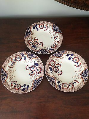 Three Old / Vintage Ridgway England Aqra 7'' Soup Plates / Bowls 1885-1890