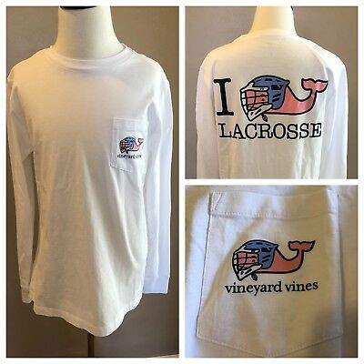 Vineyard Vines Boys T Shirt Lacrosse White Small Medium Large XL Whale New NWT