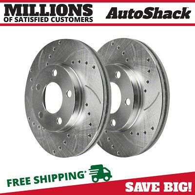 Rear Pair (2) Silver Drilled Slotted Rotors 5 Stud Fits 05-13 2014 Ford Mustang