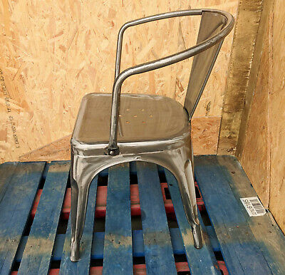 Tolix Armchair Brushed Steel Metal Stacking Retro French Chair Bistro Bar Cafe