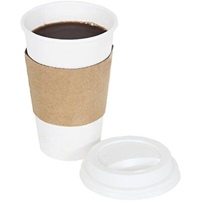 2dayShip White Paper Hot Coffee Cups With Lids And Sleeves, White, 16 Ounces, 50