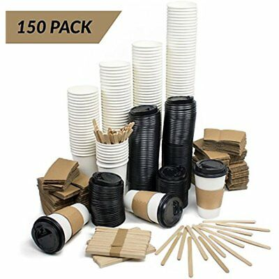 MEGA Set Of 150 Disposable Paper Coffee Hot Cups With Travel Lids, Sleeves & 12