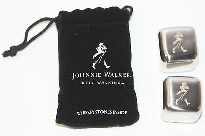 Set of 2 - Johnnie Walker Metal Promo Whiskey Stones w/Pouch (Keep Walking)