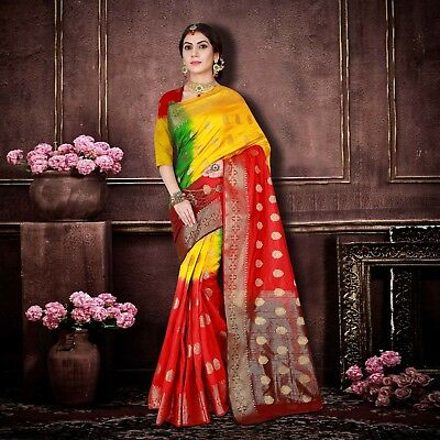 Latest Designer Indian Wedding Style Saree Red & Yellow Banarasi Silk Sari 23819