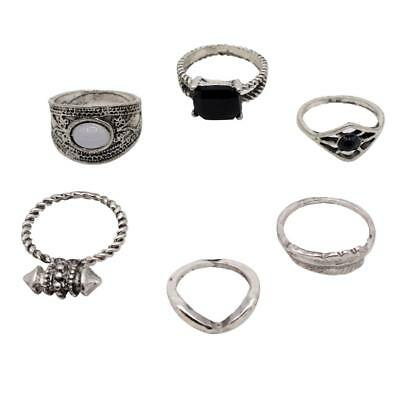 6Pcs Silver Bohemian Vintage Knuckle Joint Nail Ring Set Women Girls Jewelry