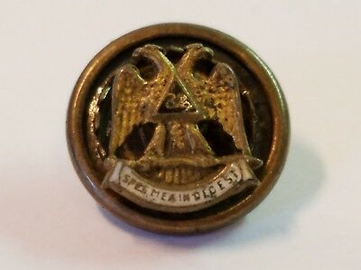 Vintage Antique Sterling Silver Gold Masonic Scottish Rite Lapel Pin Button 32nd