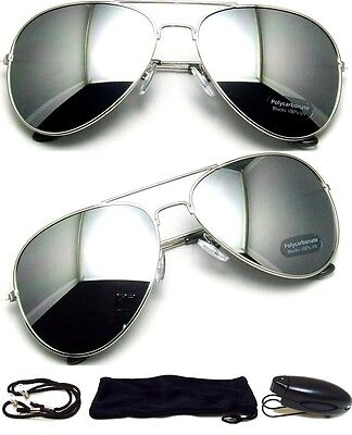 MEN Sunglasses Aviator Style Silver Frame with Dark Mirror Lens FREE CASE - NEW