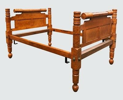 18Th C Federal Period Birds Eye Maple Antique Four Poster Bed ~~ Stunner