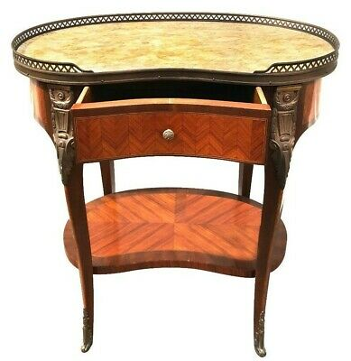 Fine Louis Styled French Kidney Shaped Marble Topped Foyer Nightstand Table