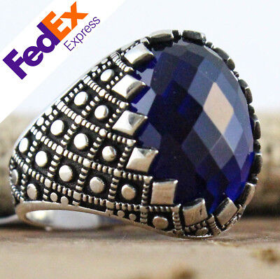 925 Sterling Silver Turkish Handmade Sapphire Ottoman Men's Luxury Ring All Size
