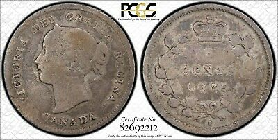 Canada 1875-H Silver 5 Cents Large Date PCGS Genuine