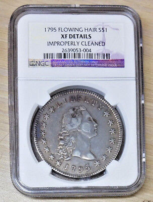 1795 Flowing Hair Silver Dollar NGC XF Details Improperly Cleaned