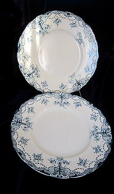 Antique Upper Hanley Semi-Porcelain Dinner Plates - England - Blue - Alliance