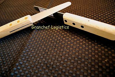 """2 - Wood Handle 7 1/2"""" Clam Knives w/ Stainless Steel 3 1/2"""" Blade ~ Brand New"""