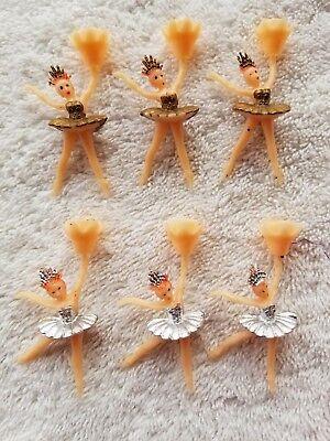 Vtg NOS Ballet Dancer Candle Holders Lot 6 Ballerina Hong Kong Gold Silver TuTu