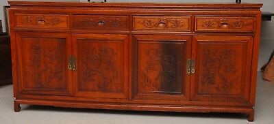 Vintage Rosewood Chinese Buffet Cabinet Sideboard Ornately Carved 6' Long