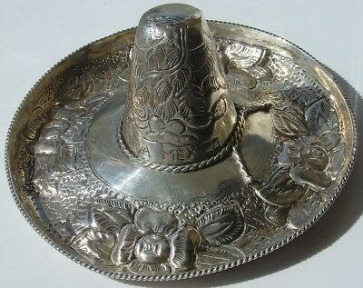Vtg Large Sterling Silver Signed Mexican Sombrero Hat Tooled Flower Viva Mexico