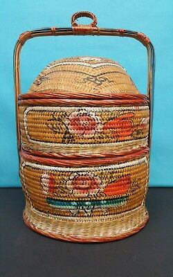 Vintage Chinese Woven 2 Tier Square Basket