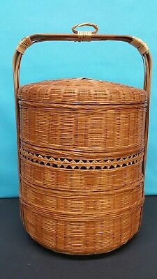 Antique Chinese Woven 3 Tier Cylindrical Basket