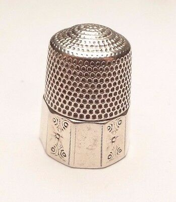 Antique Simons Bros Etched Thimble Sewing Sterling Silver 925 Size 12 Unique
