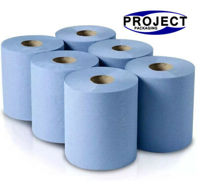 6 Pack 2 Ply Blue Embossed Centre Feed Paper Wipe Rolls Office Home Warehouse