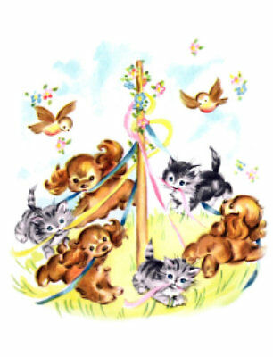 Vintage Image Animals Maypole Puppy Kitten Nursery Waterslide Decals AN836