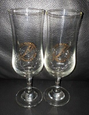 Pair Of Rare Collectable 1984 Los Angeles Olympic Games Champagne Wine Glasses