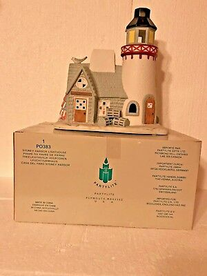 PartyLite Stoney Harbor Hand-Painted Ceramic Lighthouse Tea Light Holder New