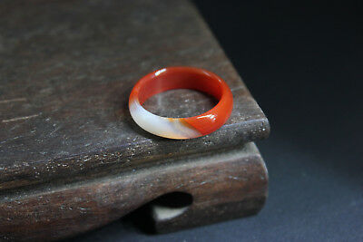 China 100% ice jade Chalcedony handcarved agate ring ah