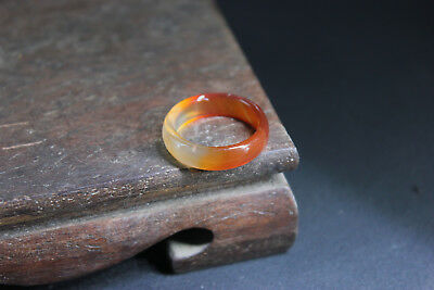 China 100% ice jade Chalcedony handcarved agate ring al
