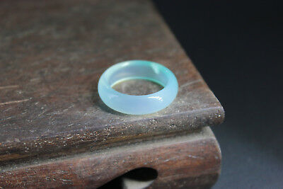 China 100% ice jade Chalcedony handcarved agate ring bb