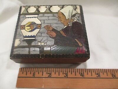 c1930 Quimper Pyrographic Painted Wood signed Fouillen Peasant box France 4""