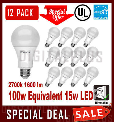 12 LED Light Bulbs GREENLITE 15W 1600 Lumens Bright White 3000K A19 Dimmable