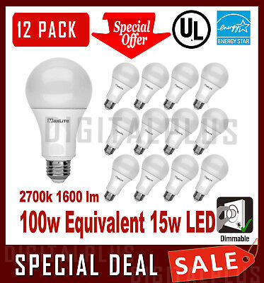 12 LED Light Bulbs MAXLITE 15W 1600 Lumens Soft White 2700K A19 E26 Dimmable !